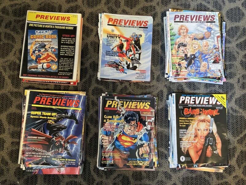 Diamond Previews Catalog Covers and Inserts 1991 - 1996