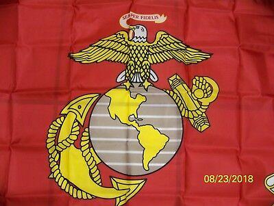 U.S.M.C., U.S. Marine Corps, military, large 3x5 poly flag, double image, NEW!