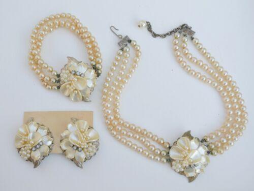 Vintage/antique pearl flower jewelry set necklace/bracelet/earrings Haskell?