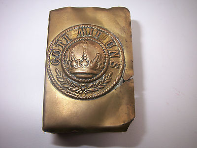 AUTHENTIC GERMAN TRENCH ART MATCH BOX COVER GOOT MIT UNS,BELT BUCKLE-WW1