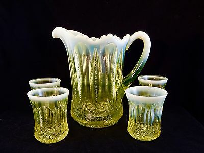 RARE SET!!  Canary Vaseline  ** IRIS with MEANDER **  WATER PITCHER & TUMBLERS!!