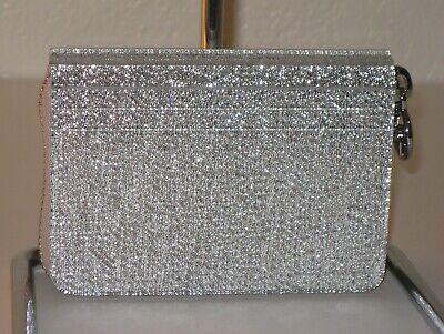 MICHAEL Michael Kors Barbara Silver Zip-Around Coin Card Case Wallet -