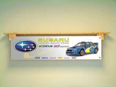 Subaru STI Impreza Rally BANNER  WRC workshop garage sign