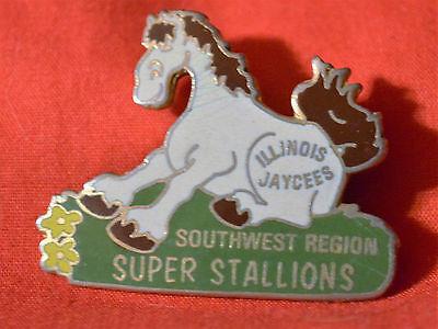 ILLINOIS JAYCEES SOUTHWEST REGION SUPER STALLIONS LABEL PIN HORSE