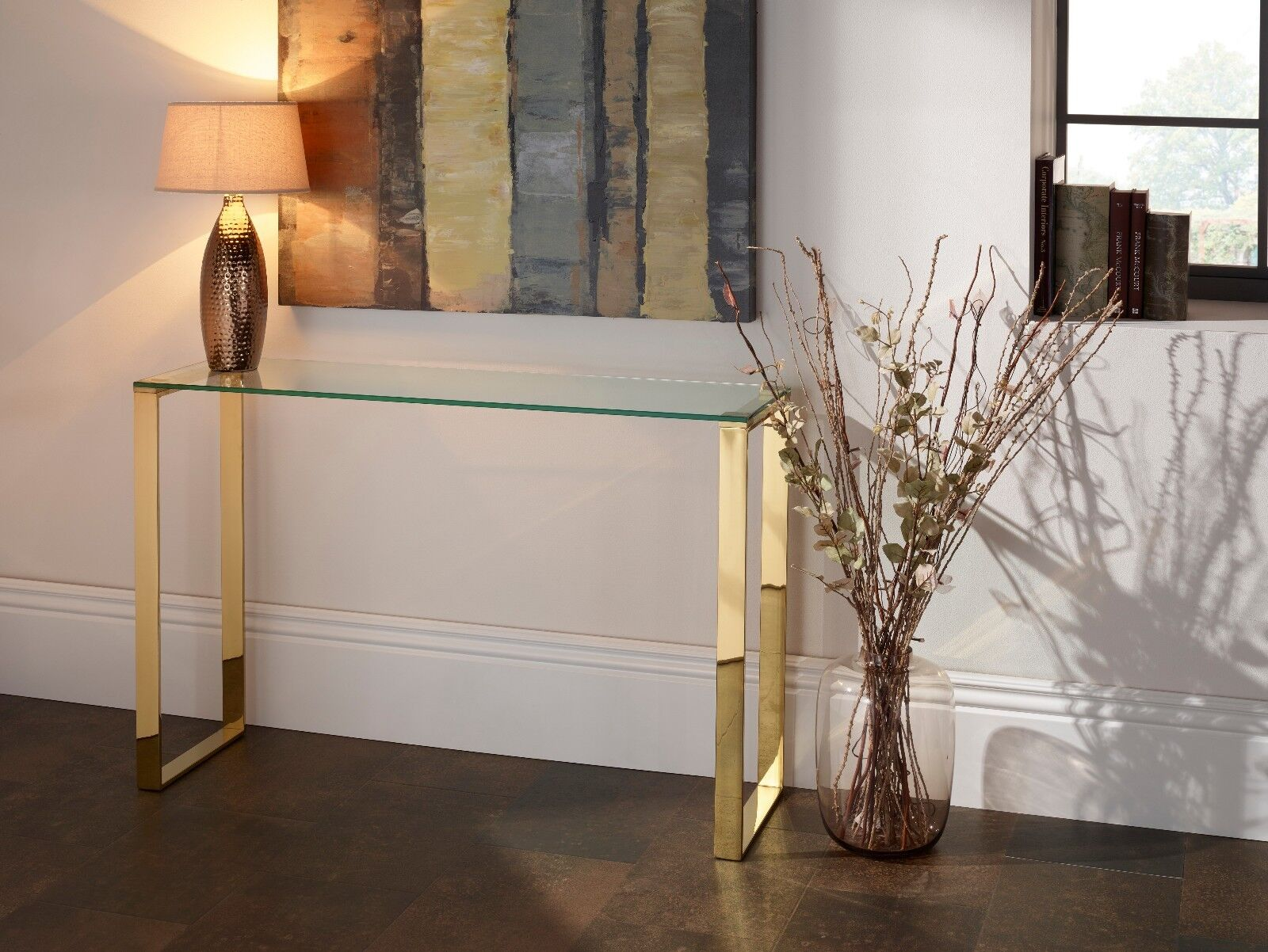 Asger Glass Top Console Table In Steel, Gold Or Rose Gold Metal Frame
