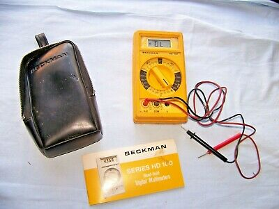 Beckman Hd 100 Hand Held Multimeter Hd100 With Case Leads Book