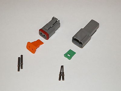 2 Pin Gray Deutsch Dt Connector Set 16-18-20 Ga Solid Nickel Terminal Contacts