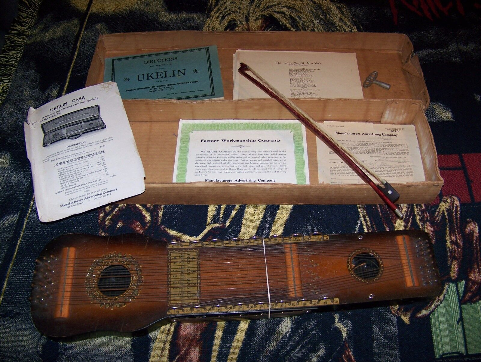 Vintage Antique 1920s OSCAR SCHMIDT Music Ukelin & Bow Original Box & Paperwork