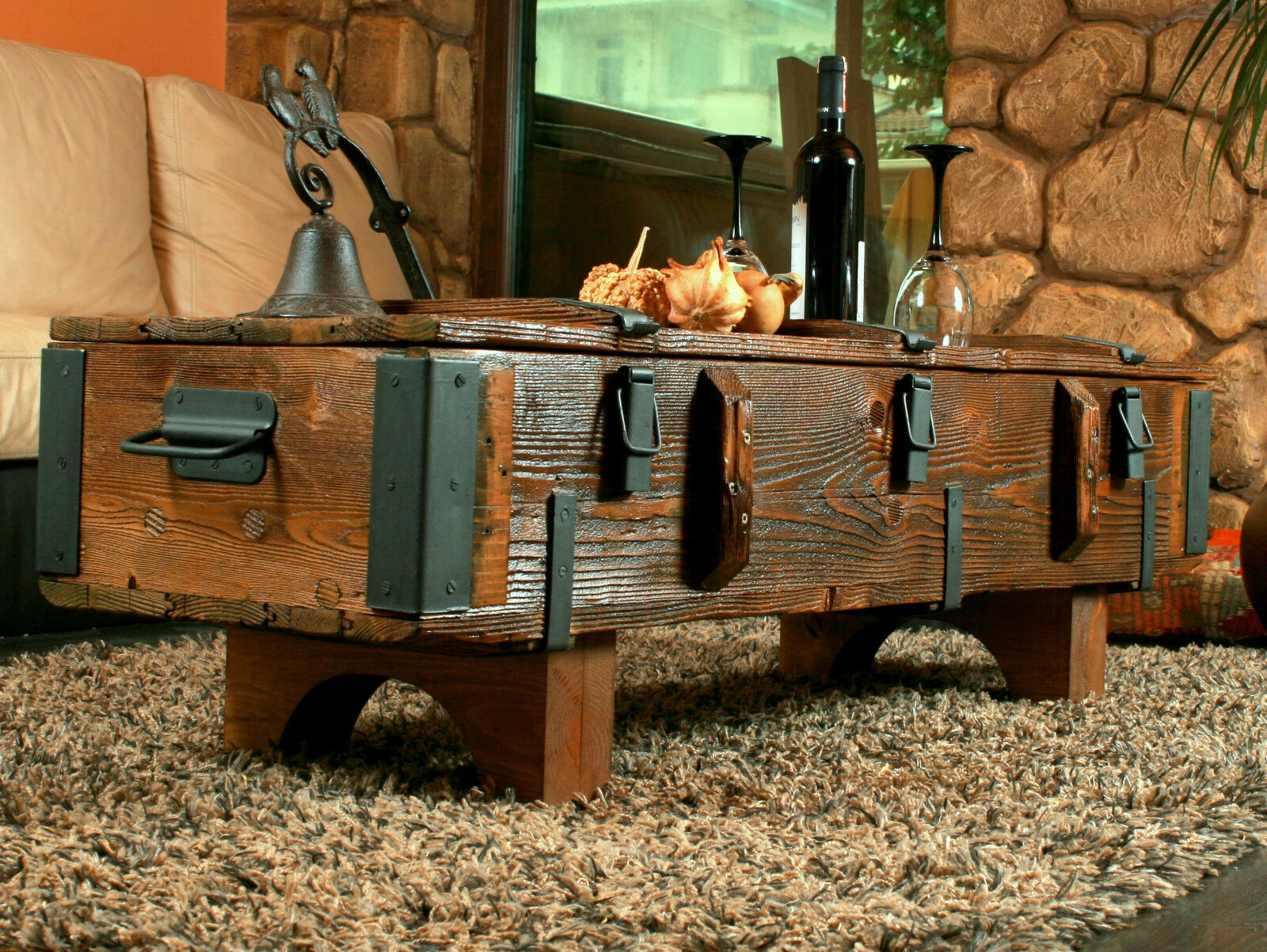 - OLD TRAVEL TRUNK Coffee Table Cottage Steamer Trunk PINE CHEST