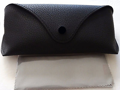 Brand new sunglasses leather case  Black with cleaning cloth