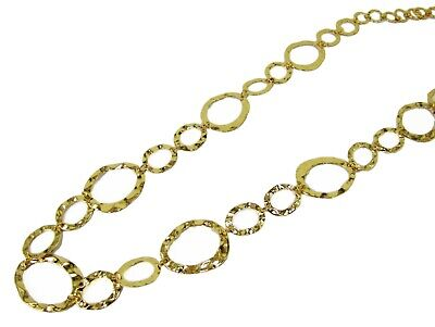 Fancy Hammered Long Link Chain Necklace in Gold Plating - NEW  - Long Hammered Link Necklace