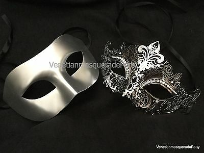Halloween Engagement Party (Couple Masquerade mask pair engagement wedding party Halloween costume)