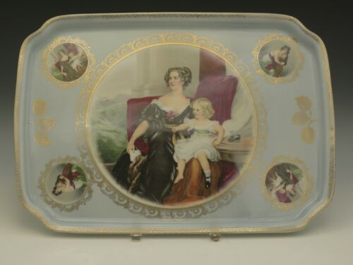 "MITTERTEICH GERMANY PORTRAIT WOMAN AND CHILD PORCELAIN LARGE TRAY 14"" VICTORIAN"