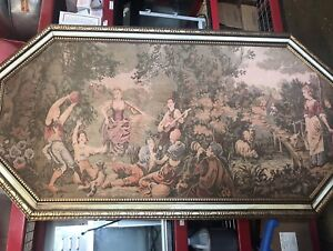 Huge Antique French Style Framed Tapestry over 6' wide