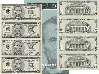 2001  5 Bill 4 Note Uncut Sheet New York District Original Bep Display Card