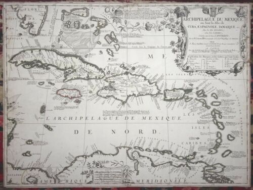 VINCENZO CORONELLI Archipelague du Mexique Cuba Mexico Florida MAP 1st Ed 1688