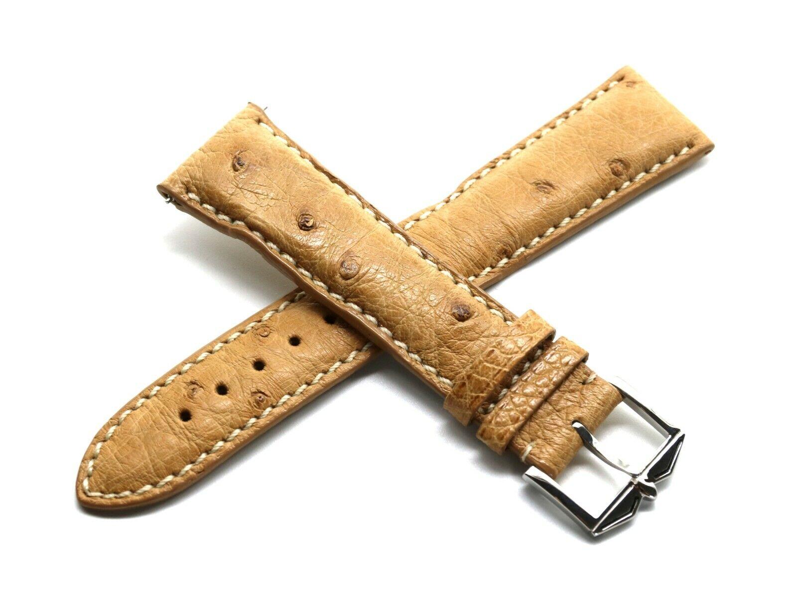Rotary 21 mm Uhrenarmband aus echtem Straussenleder Braun mit Schliesse