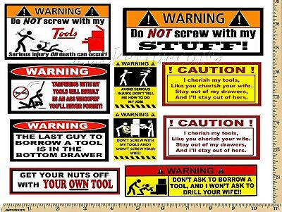 - Funny Warning Stickers - Complete set of 10 Decals  - Great For Toolbox USA