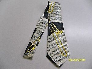 Trombone, slide, musical instrument, concert, Jazz, Band theme men's neck tie