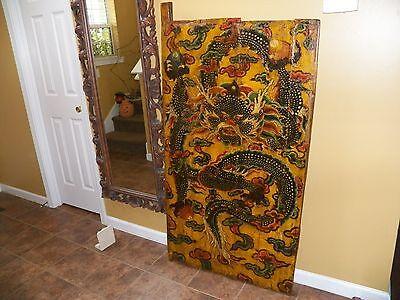 Tibetan Antique Hand Painted Door Panel Equinox Dragon In The Sky With Jewels
