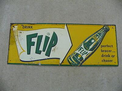FLIP SODA POP TIN SIGN  RARE SODA BRAND