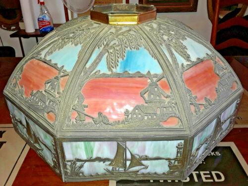 1915 Mammoth Hanging 24 Panel Chandelier Tri-Color Slag Glass Shade Complete