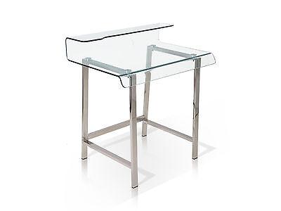 Klar Glas-schreibtisch (Millar Schreibtisch Design klar Glas 85x55 Computertisch Metall Chromfarben)