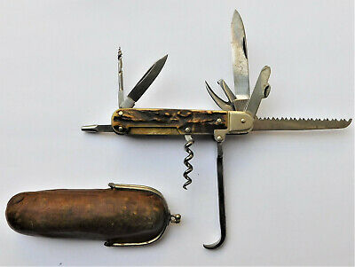 NO RESRV c1910 Henckels German Army Folding Pocket Pen Coachman's Knife Vintage