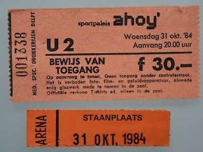 U2 ORIGINAL ARENA CONCERT TICKET 31/10/84 AHOY ROTTERDAM (Birthday Larry Mullen) for sale  Shipping to Canada