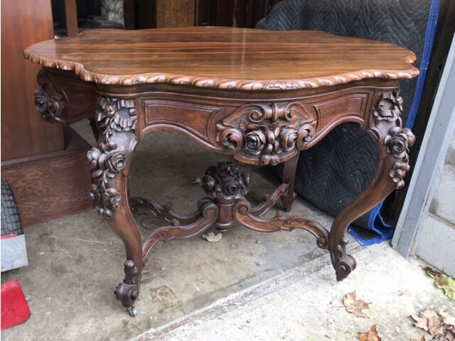 ROSEWOOD CARVED ROCOCO TABLE, ALEXANDER ROUX
