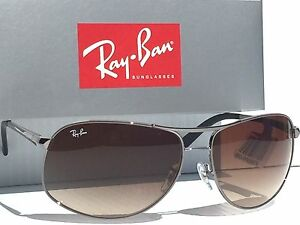 NEW* Ray Ban AVIATOR SILVER 67mm w Bronze Gradient Sunglass RB 3387 004/13 $180