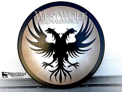 Round Wooden TWIN PHOENIX SHIELD -- sca/larp/greek/spartan/trojan/viking/armor