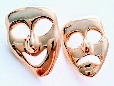 Large Vintage Drama Masks Comedy Tragedy Pierced Earrings Goldtone