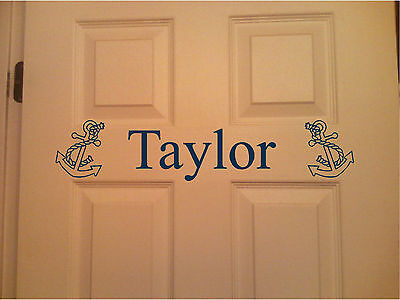 Personalized Name & Anchor Wall Art Wall Decor Bedroom Door Sticker ](Door Decorate)