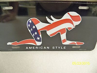 (U.S. Flag Mud flap girl, american style, gloss metal car or truck license plate )