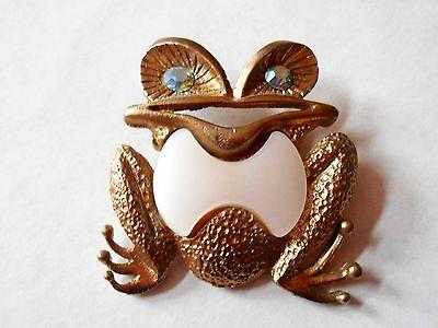 Vintage Frog with Rhinestone Eyes Figural Pinback Brooch Pin