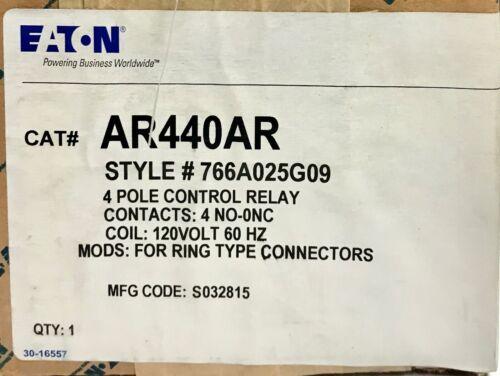 EATON CUTLER HAMMER AR440AR 4 Pole 120V Control Relay 4 NO 0NC 766A025G09