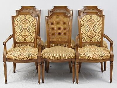(Set of 6 Baker Furniture Cane Back Dining Chairs with Designer Upholstery)