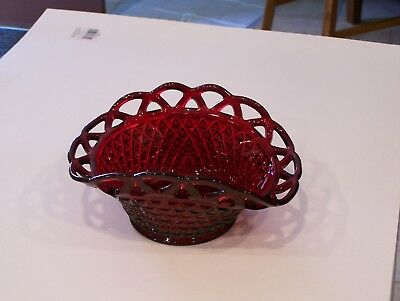 Ruby Red Basketweave Glass Bowl with Scalloped Edging Scallop Edge Bowl