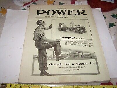 Old 1907 Power Trade Magazine Steam Engine Generator Hit Miss Gas Oiler Valves