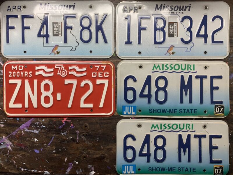 Missouri License Plates. 5 Total