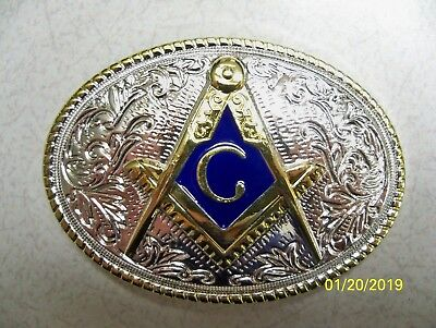 Mason, Masonic, Fraternal, Blue Lodge, Square & Compass western Belt Buckle #4 - Mason Belt Buckle
