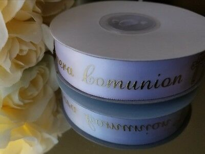 First Communion Ribbon (25Yds Satin Ribbon Metallic WHITE SLIVER /GOLD Mi Primera Comunion/1st)