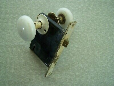 ANTIQUE VINTAGE WHITE PORCELAIN DOOR KNOBS R & E BRASS MORTISE LOCK
