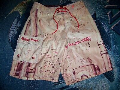 THE ROLLING STONES BEGGARS BANQUET Dragonfly Surf Swim Suit Board Shorts Sz 31