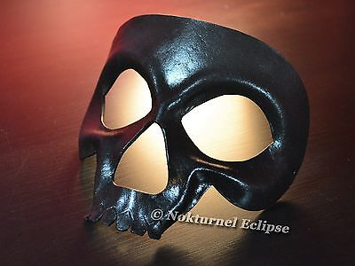 Black Skull Leather Mask Skeletor Masquerade Halloween Horror Cosplay UNISEX