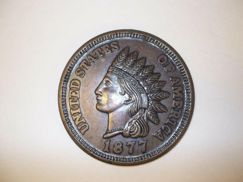 Large 1877 Indian Head Cent Novelty Coaster Paperweight Collectible 3 inch EUC