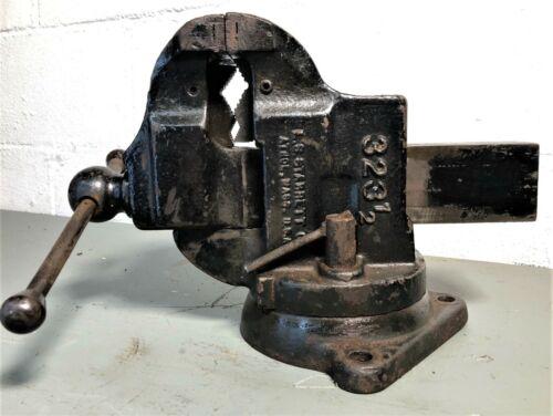 "Vintage L.S Starrett Athol, Mass. No. 323 1/2, 3 1/2"" Jaw Swivel Base Bench Vise"