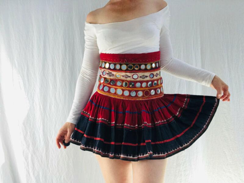 Vintage Banjara Mirror Mini Skirt.
