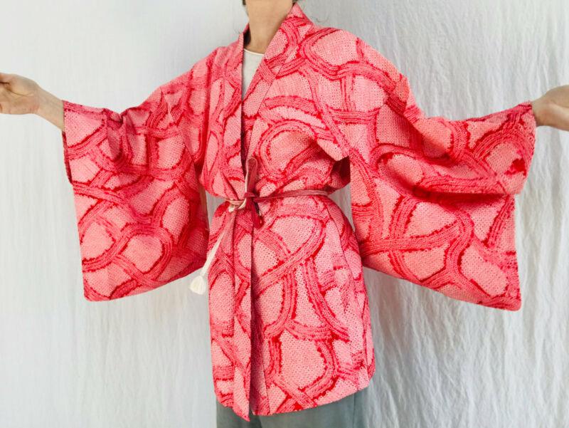 Silk Shibori Kimono. Haori